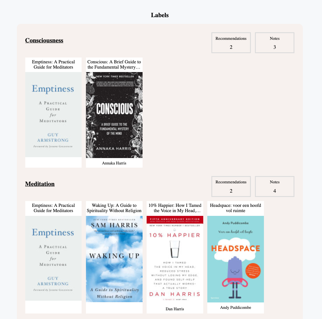 Labels of consciousness and mediation with books belonging to those topics