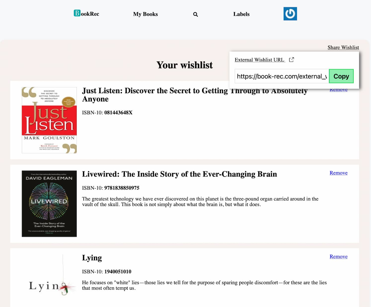A wishlist withing BookRec